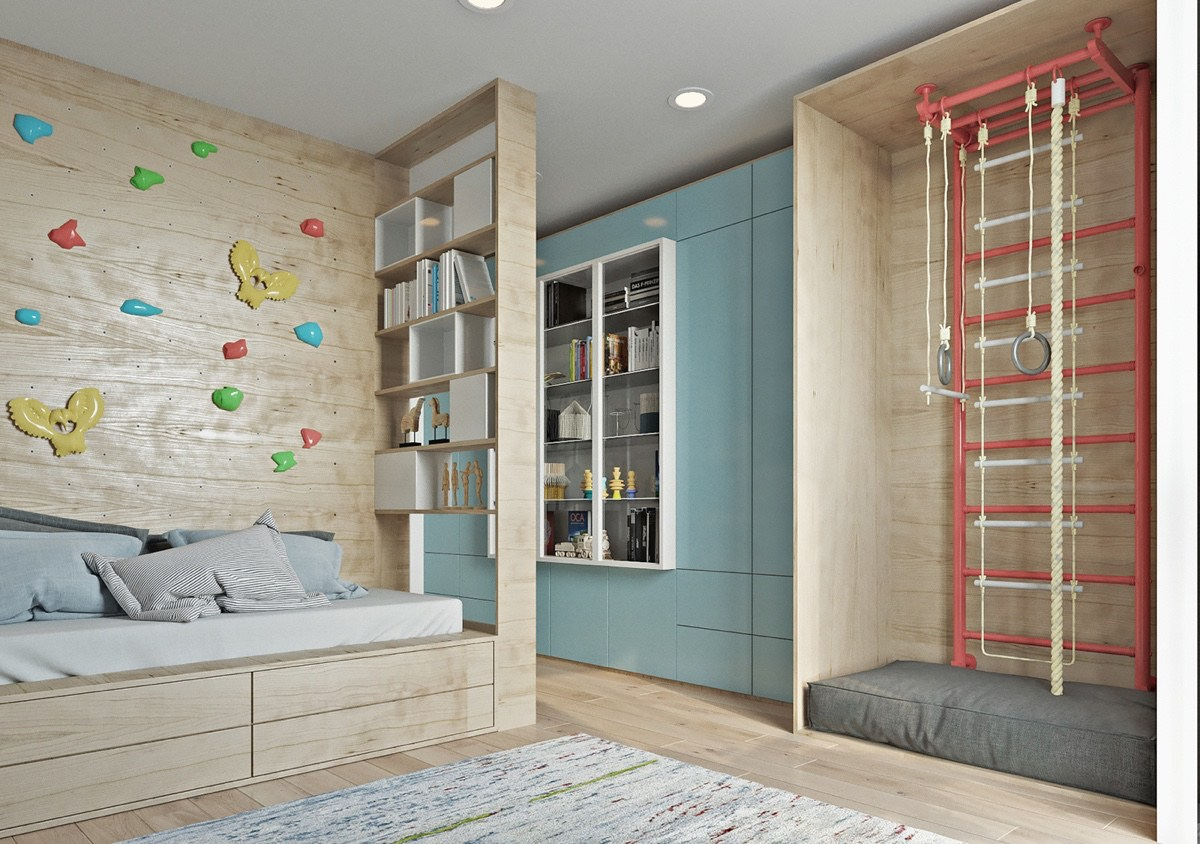 Wooden Playroom And Childrens Bedroom Wooden Ornament Wall - Two muted tone exposed brick pads for young families