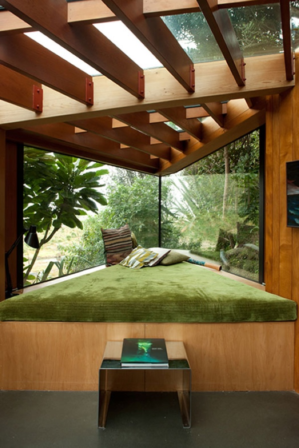 Wooden Slatted Olive Green Nook - 50 best reading nooks we have ever come across