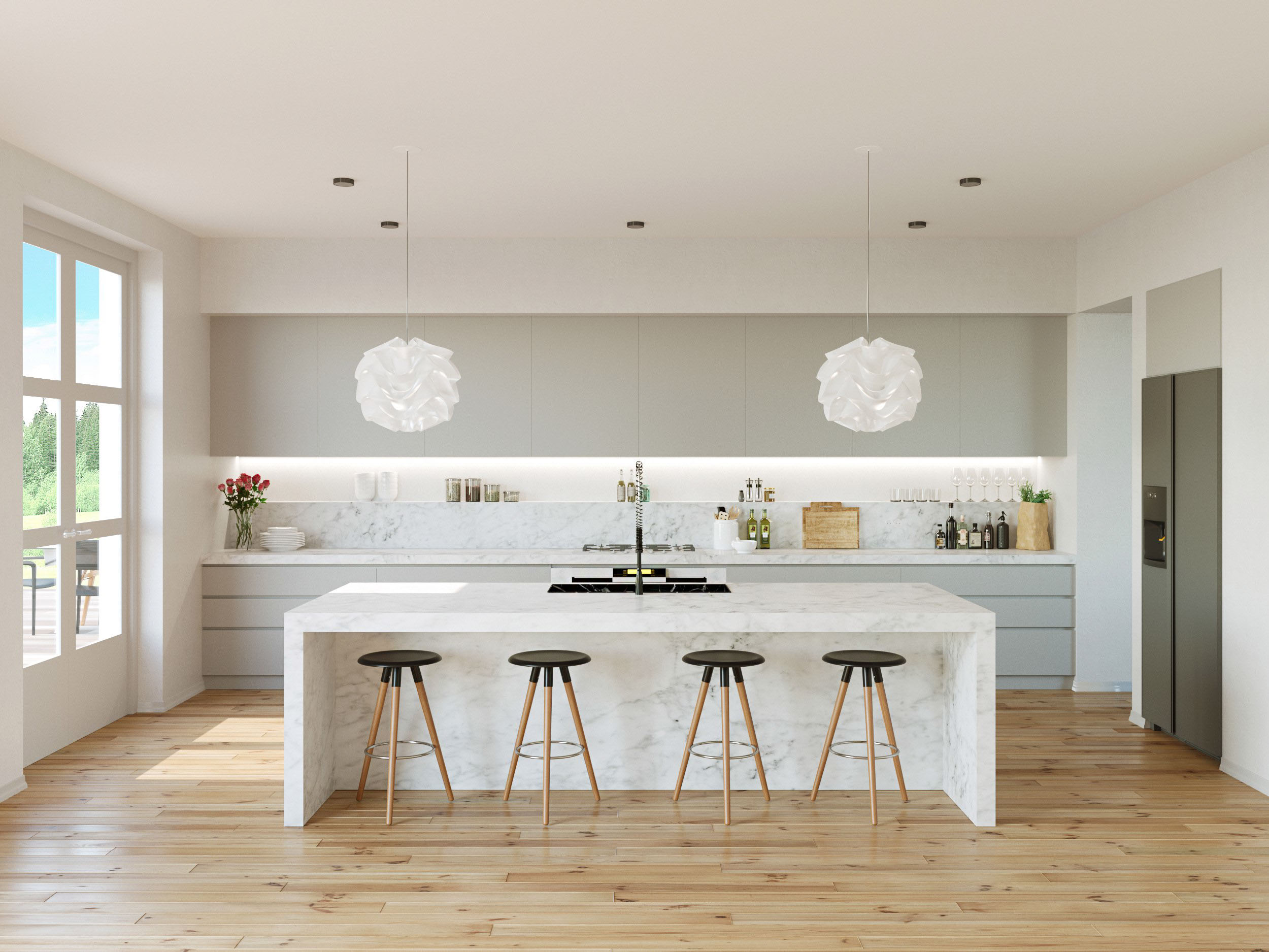 White Kitchens all white kitchen with black floor white scullery type cabinets mingle with glossy white subway tiles marble countertops and stainless steel appliances to 30 Gorgeous Grey And White Kitchens That Get Their Mix Right