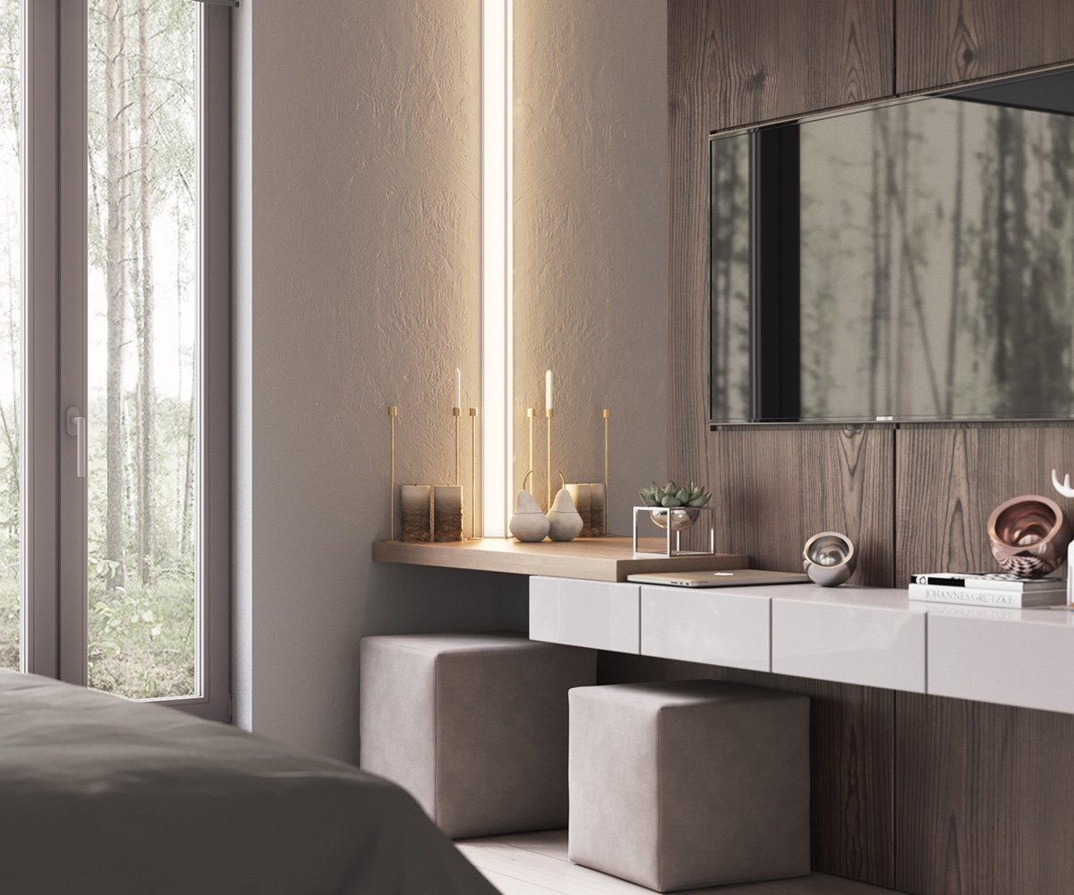 LED Light Panel Contemporary Bedroom - Minimalist muted colour home with scandinavian influences