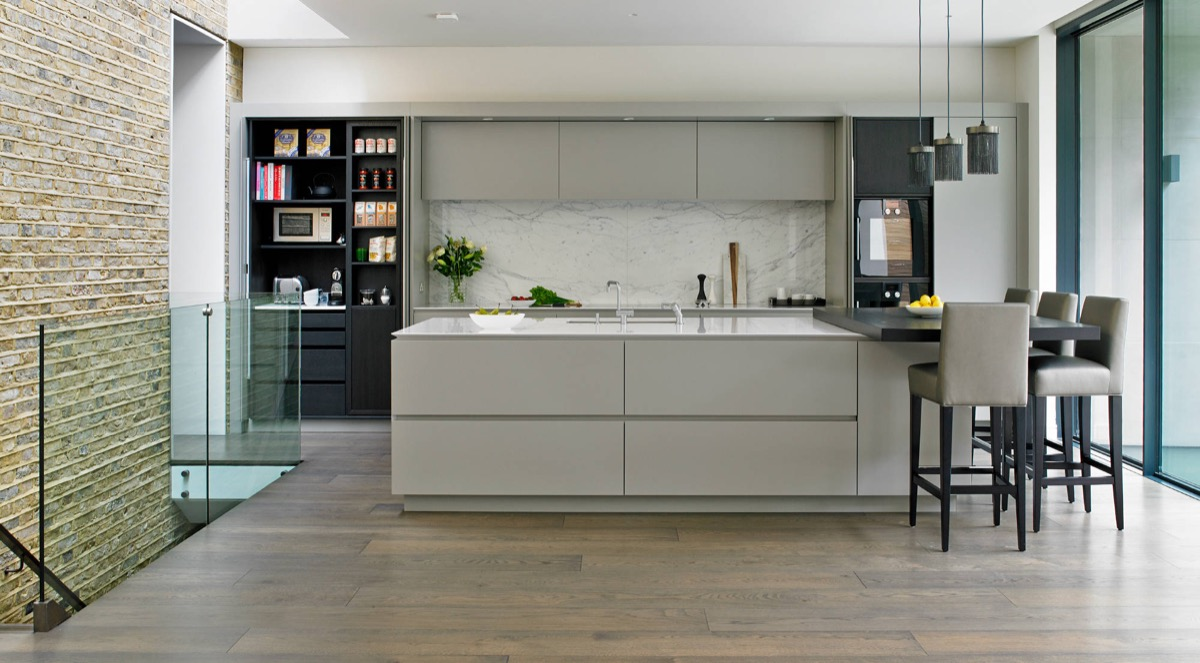 Gorgeous Grey And White Kitchens That Get Their Mix Right - Gray cabinets with marble countertops