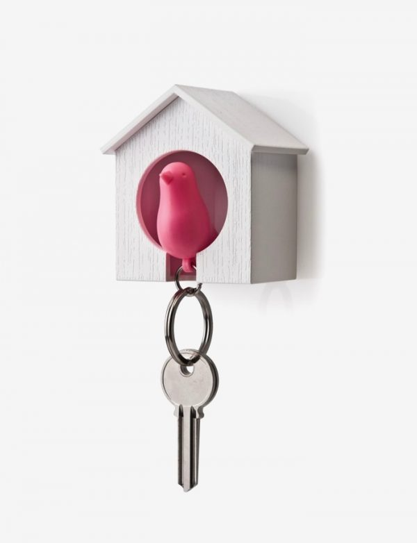 Nordic Style Bird House Keychain Sparrow Whistle Key Ring Wall Hook Holder-01