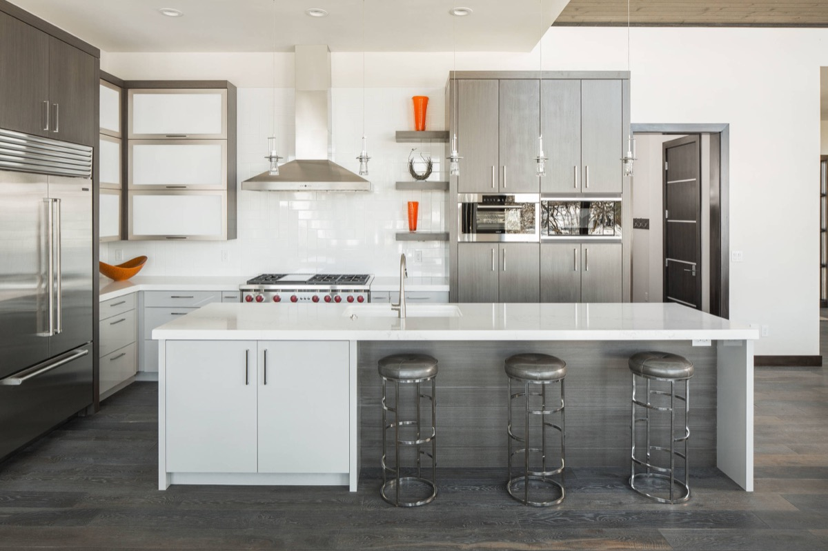 Gorgeous Grey And White Kitchens That Get Their Mix Right - Grey wood floor white kitchen