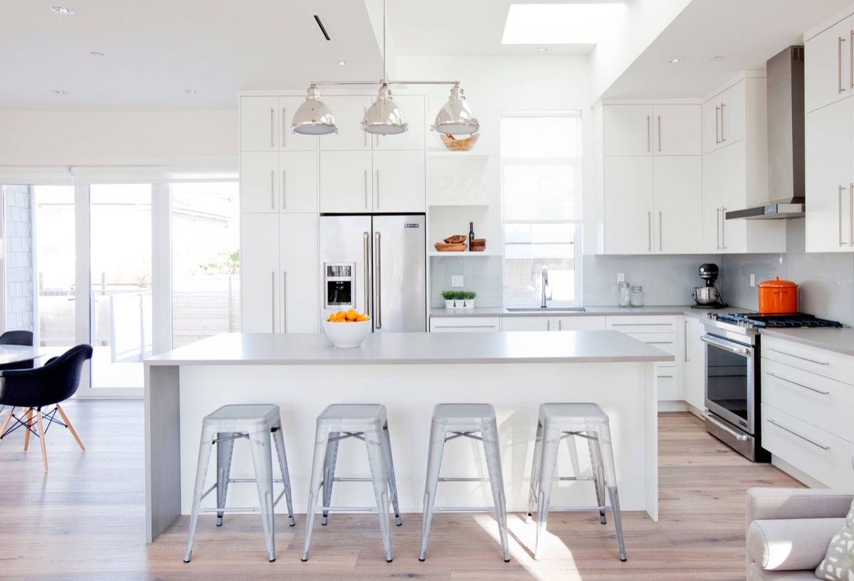 Gorgeous Grey And White Kitchens That Get Their Mix Right - Light grey kitchen cabinets with white countertops