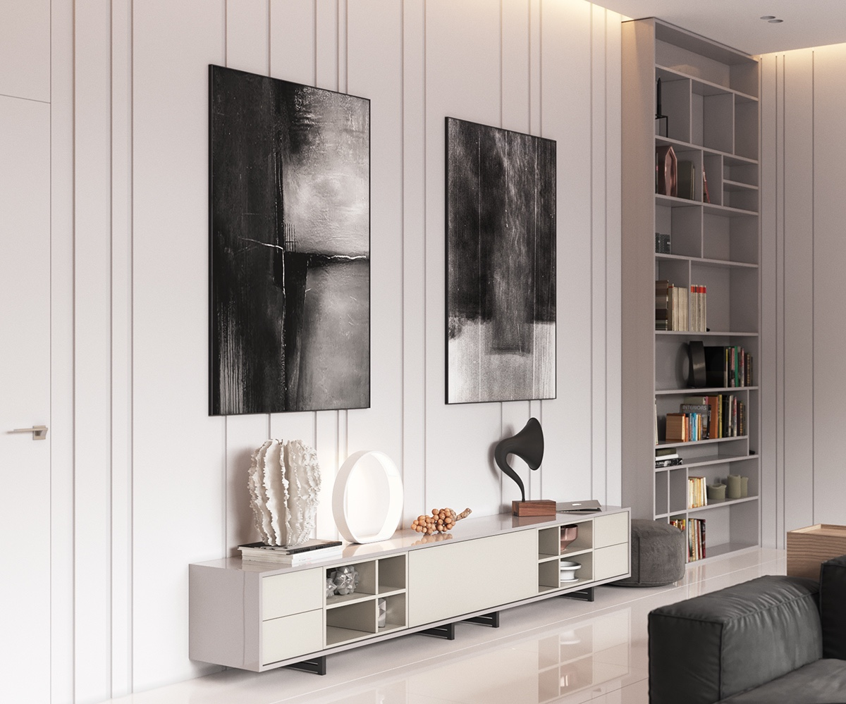 Abstract Art Pieces Minimalist Living Room - Minimalist muted colour home with scandinavian influences