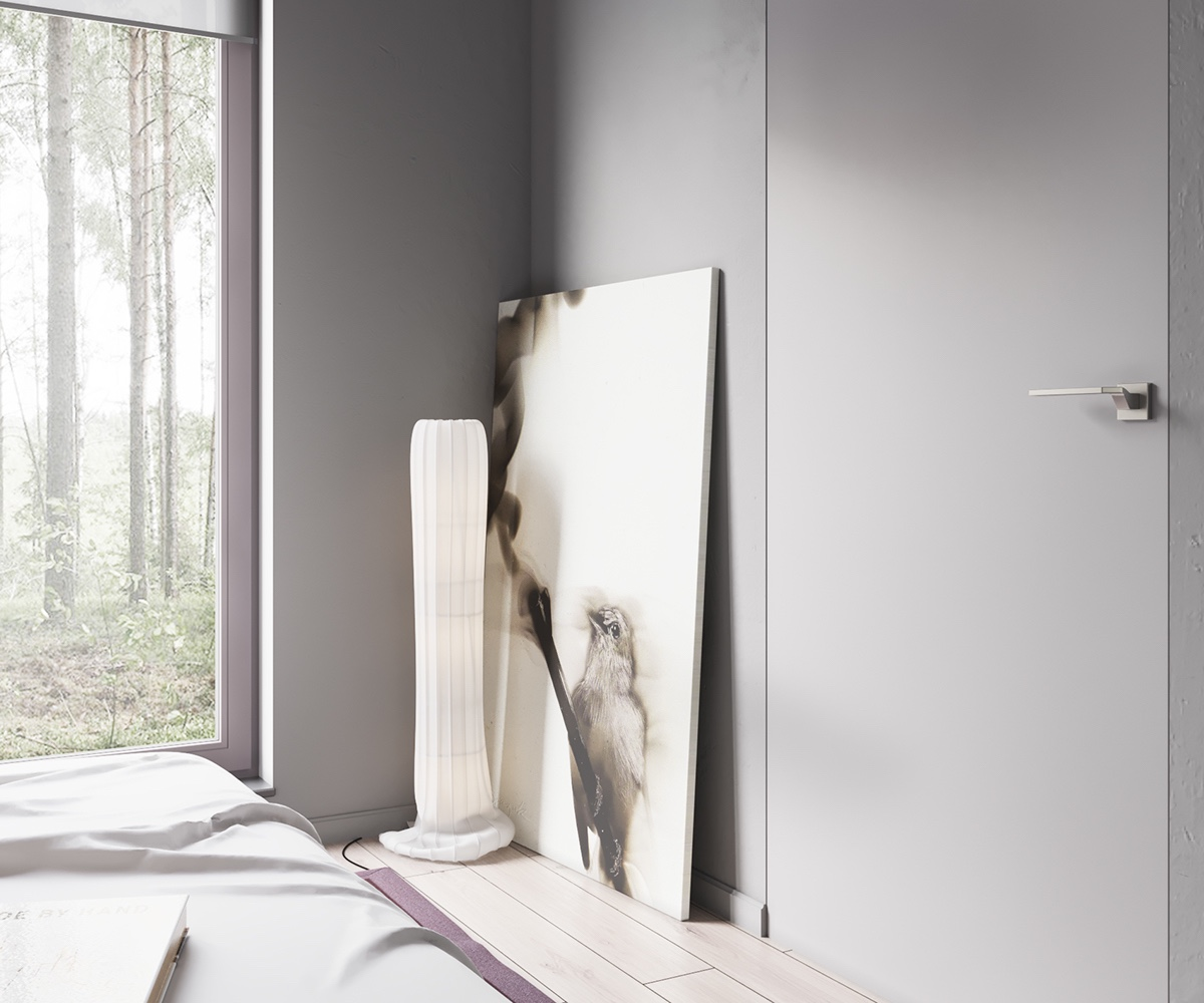 Acrylic Ornament Leaning Canvas Minimalist Bedroom - Minimalist muted colour home with scandinavian influences