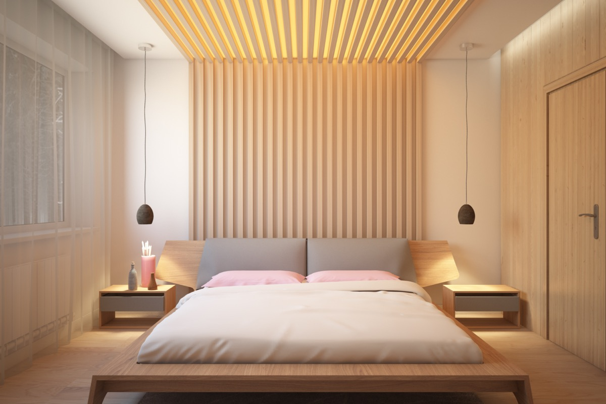 25 Beautiful Examples Of Bedroom Accent Walls That Use Slats To ...