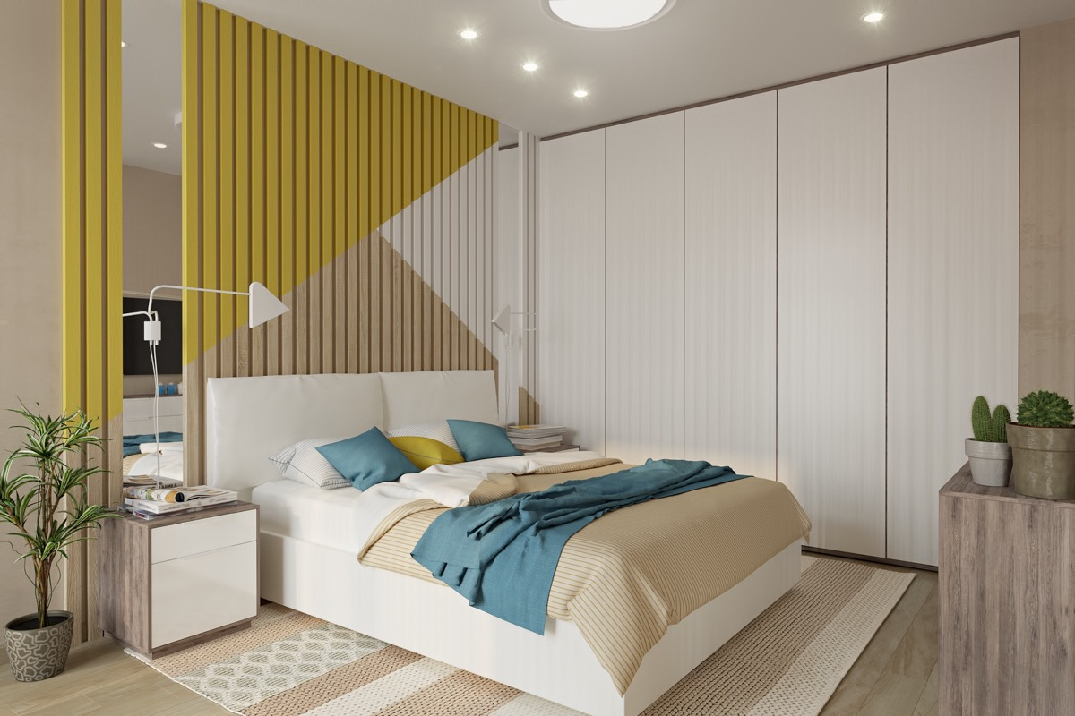 Bedroom Accent Wall Colored Slats Triangle Pattern - 25 beautiful examples of bedroom accent walls that use slats to look awesome