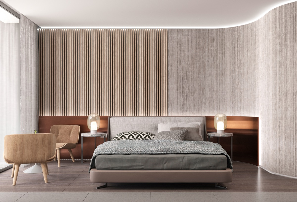 25 beautiful examples of bedroom accent walls that use for Curved wall