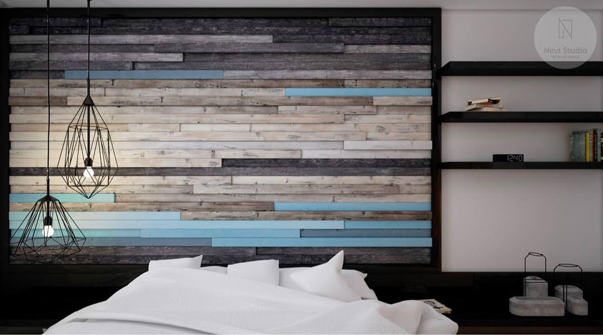 25 beautiful examples of bedroom accent walls that use slats to look awesome for What type of paint to use on bedroom walls