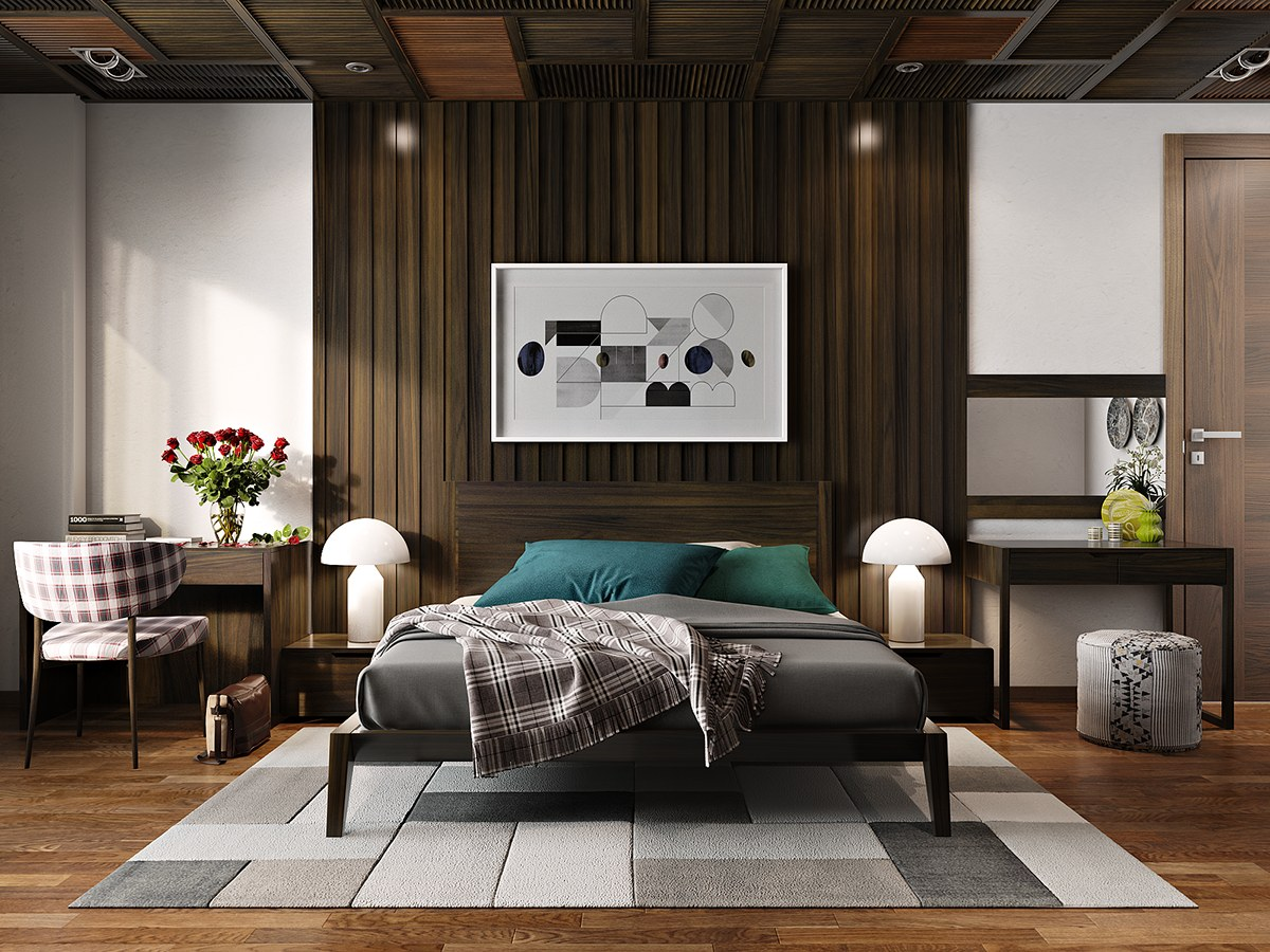 Bedroom Accent Wall Mixing Wood Tones Geometric Art Drawing - 25 beautiful examples of bedroom accent walls that use slats to look awesome