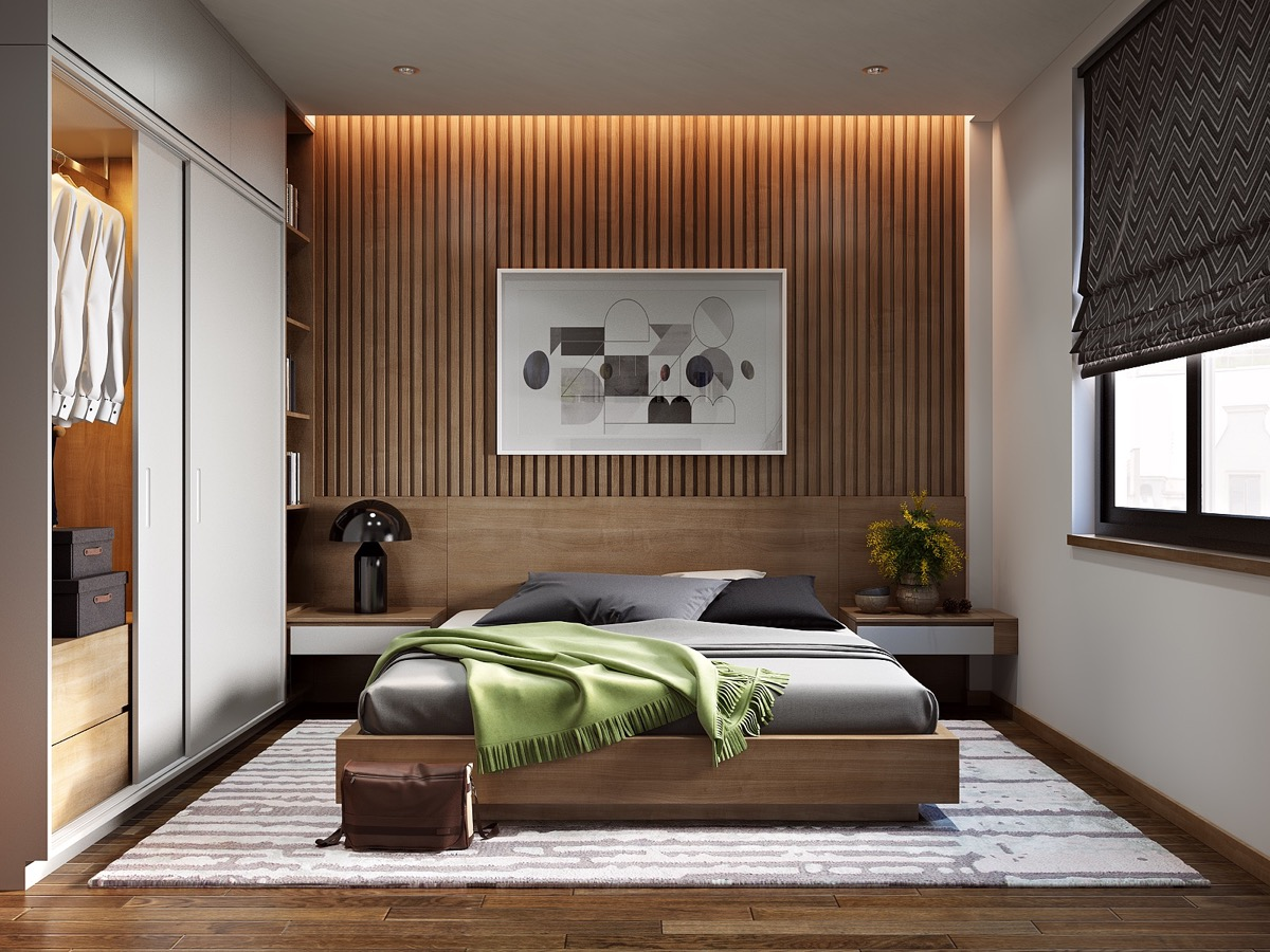 25 beautiful examples of bedroom accent walls that use slats to look awesome. Black Bedroom Furniture Sets. Home Design Ideas