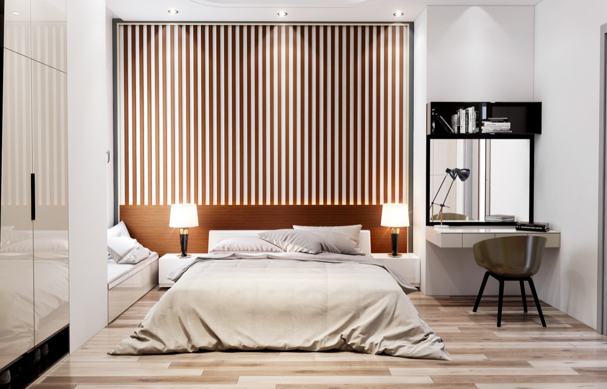 Bedroom Accent Wall Vertical Spaced Slats - 25 beautiful examples of bedroom accent walls that use slats to look awesome