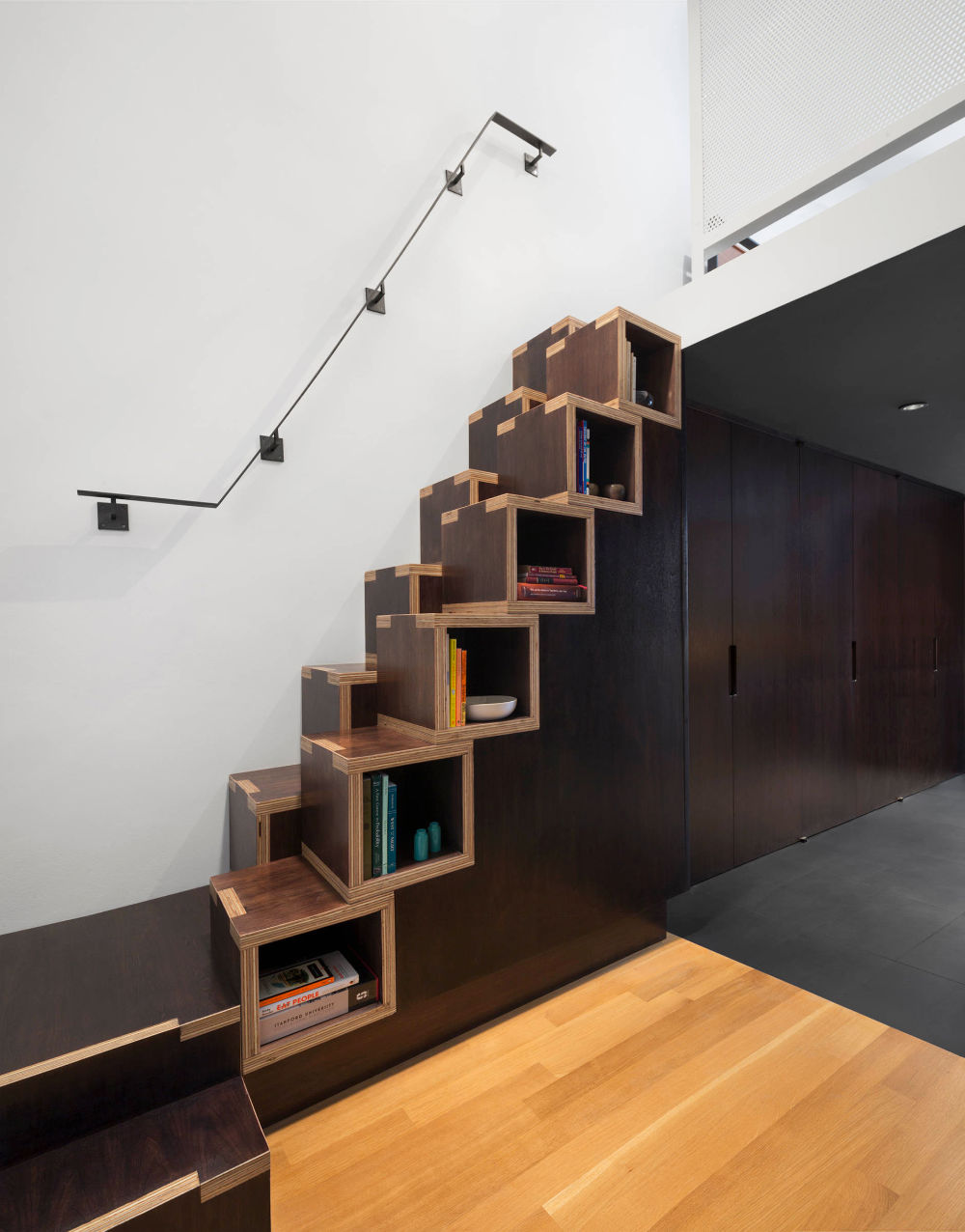 Charming Black And Wooden Library Stair Step Bookcase   50 Creative Ways To  Incorporate Book Storage In