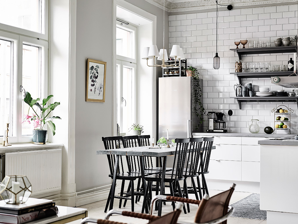 Black Stencil Chairs Grey And White Kitchen - Grey and white interior design inspiration from scandinavia