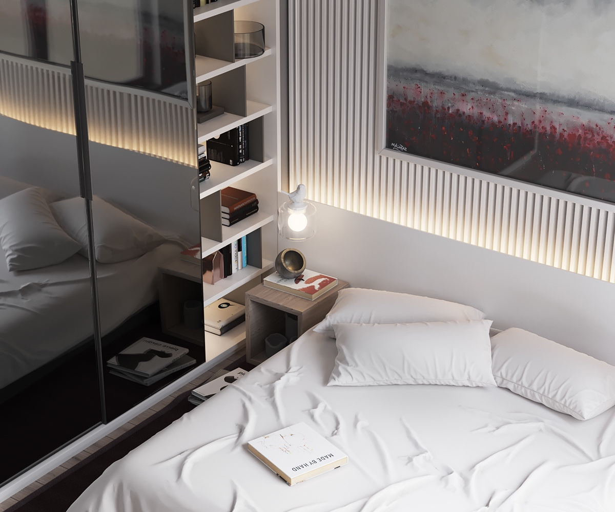 Bookcase Enclave Minimalist Bedroom - Minimalist muted colour home with scandinavian influences