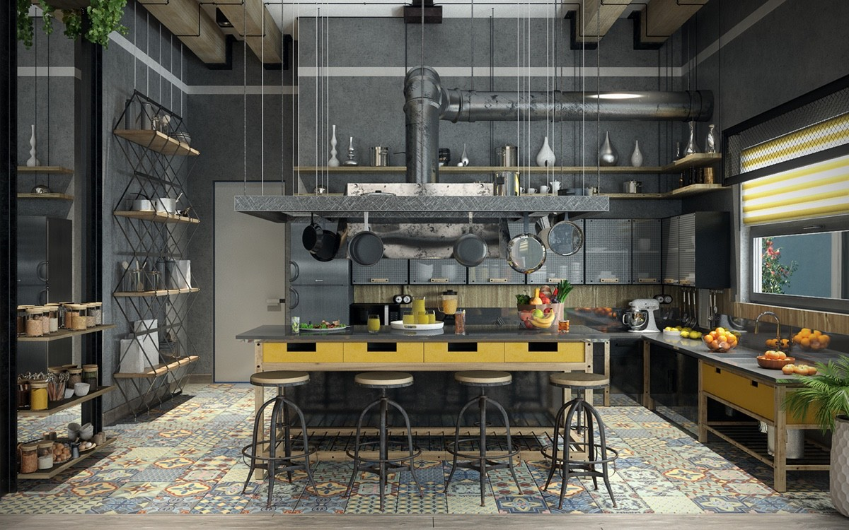Colorful Pattern Industrial Kitchen - Join the industrial loft revolution