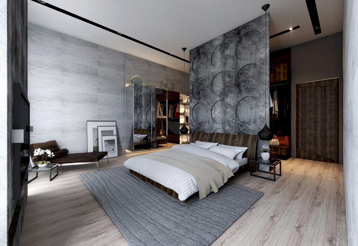 Concrete wall designs 30 striking bedrooms that use concrete finish artfully for Bedroom designs photo