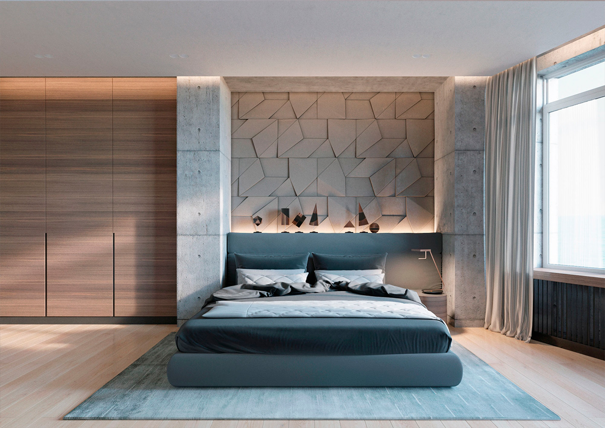 Concrete wall designs 30 striking bedrooms that use for Bed room interior wall design