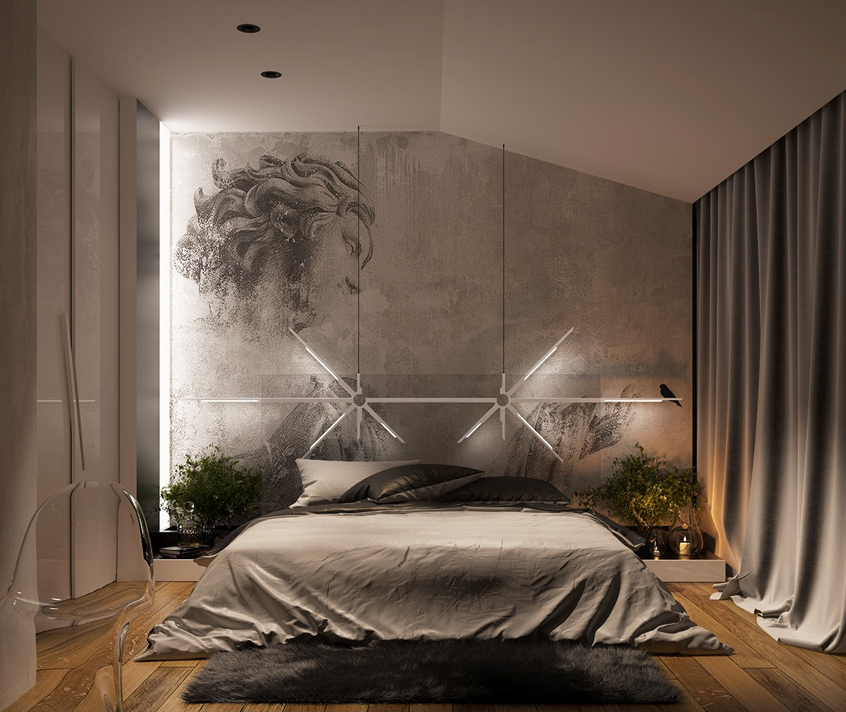 Concrete wall designs 30 striking bedrooms that use for Interior design lighting in bedroom