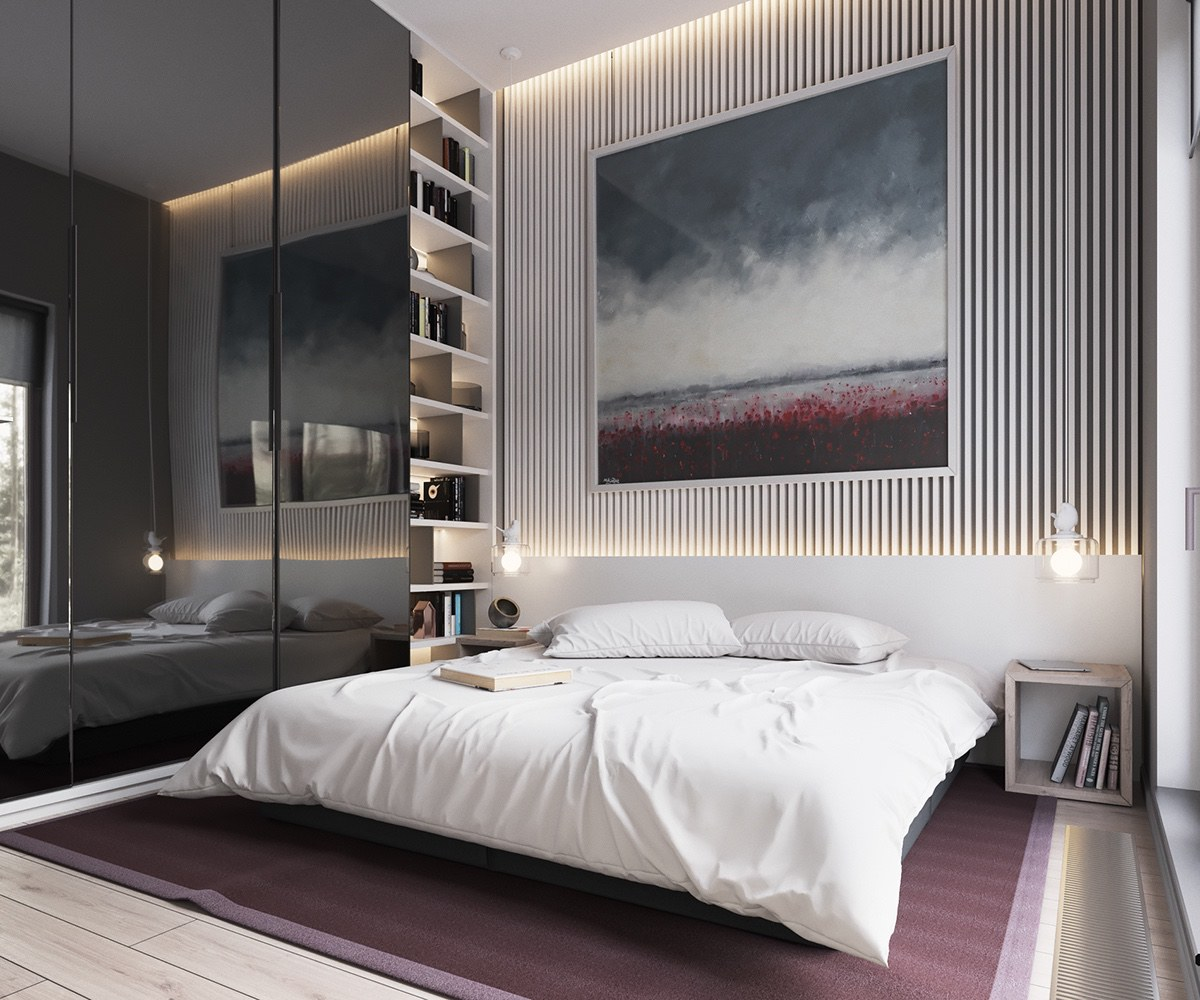 Dark Tinted Glass Wardrobe Doors Muted Bedroom - Minimalist muted colour home with scandinavian influences