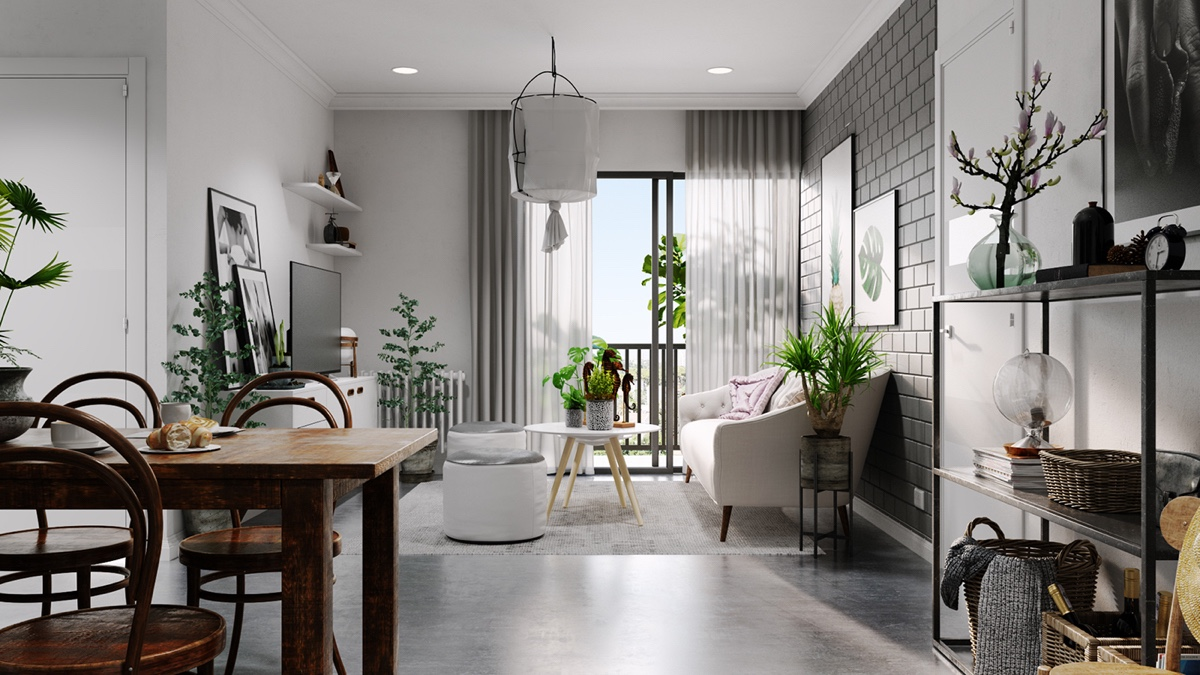 Exposed Brick Wall Grey Furniture Paint - Grey and white interior design inspiration from scandinavia