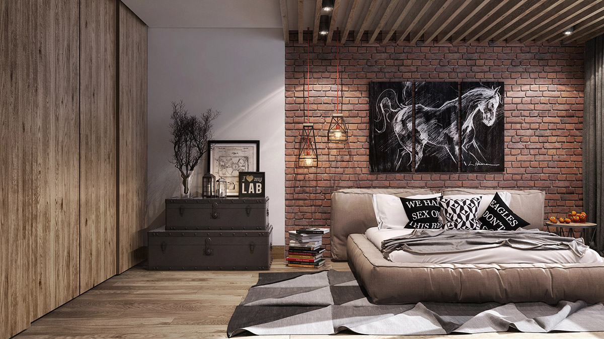 Feature Painting Geometric Rug Exposed Brick Bedroom - Bedrooms with exposed brick walls