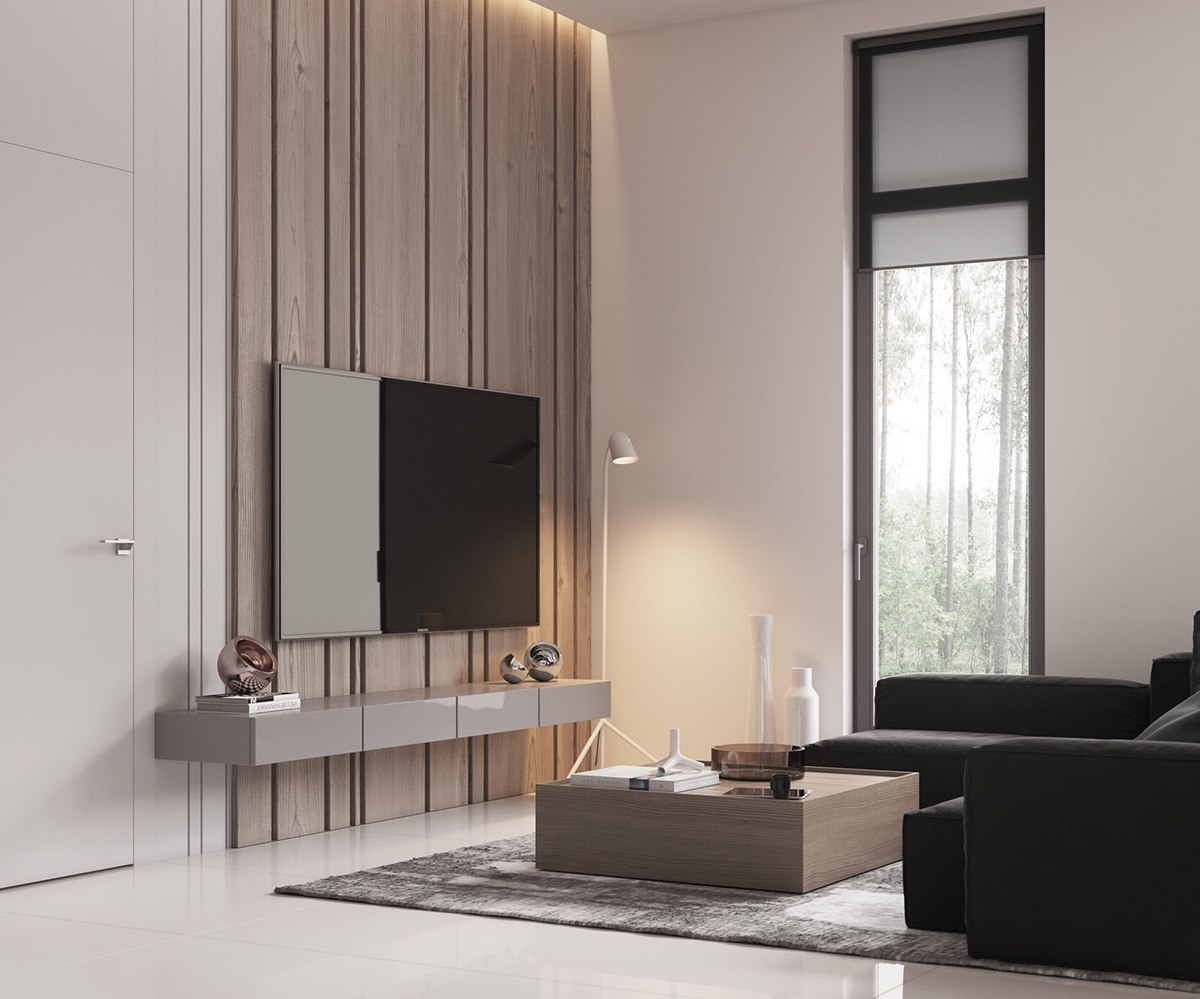 Feature Wooden Panel Minimalist Living Room - Minimalist muted colour home with scandinavian influences