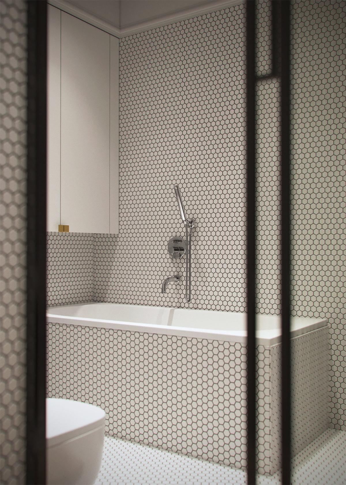 Fully Tiled Bathroom Light And Modern Sophistication In A Two Bedroom Apartment