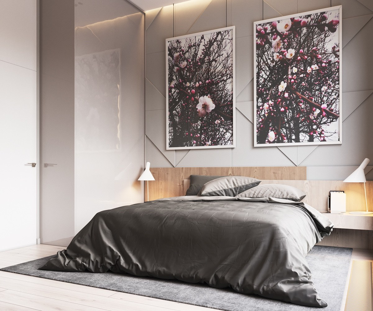 Grey Velvet Bedding Contemporary Bedroom - Minimalist muted colour home with scandinavian influences