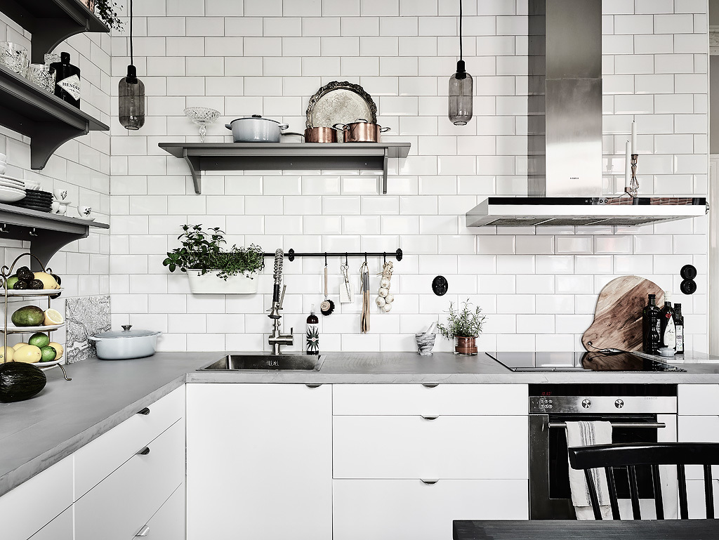 Hanging Idea Bulbs White And Grey Kitchen - Grey and white interior design inspiration from scandinavia