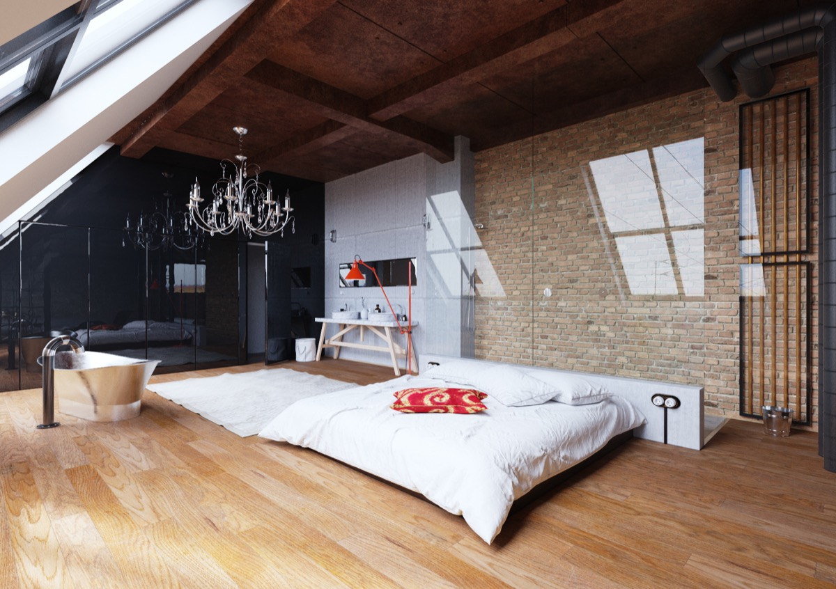 Low Lying Bed Chandelier Exposed Brick Bedroom - Bedrooms with exposed brick walls