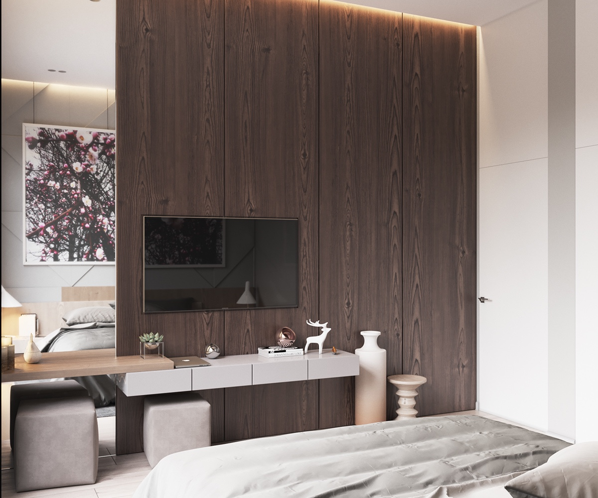 Mirrored Panel Elongating Space Simple Bedroom - Minimalist muted colour home with scandinavian influences