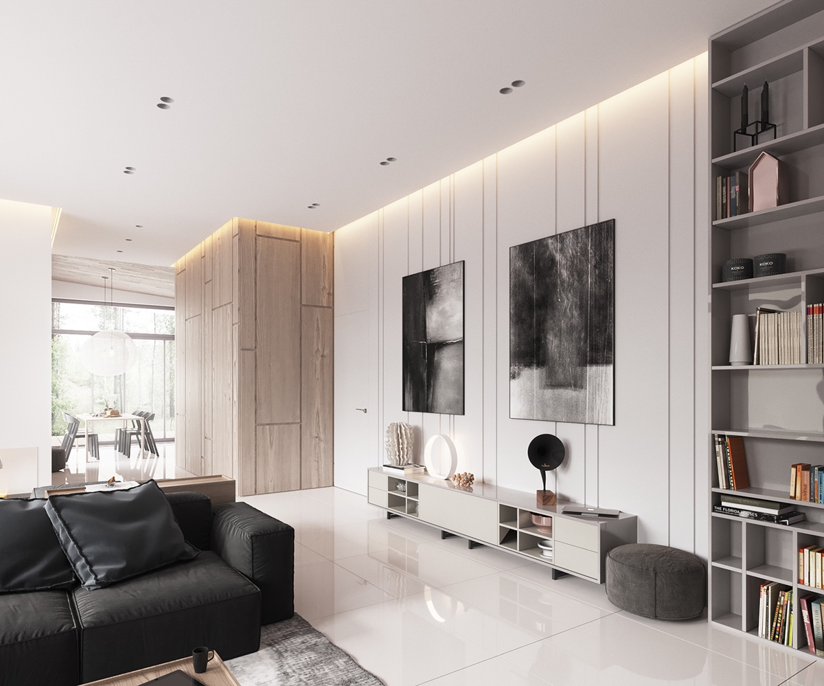 Monochrome Abstract Canvases Minimalist Living Room - Minimalist muted colour home with scandinavian influences