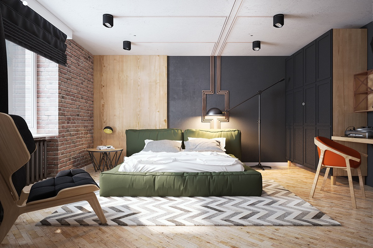 Multi Tonal Bedroon With Exposed Brick - Bedrooms with exposed brick walls