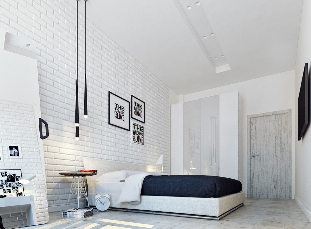 Bedrooms with exposed brick walls for White exposed brick wall