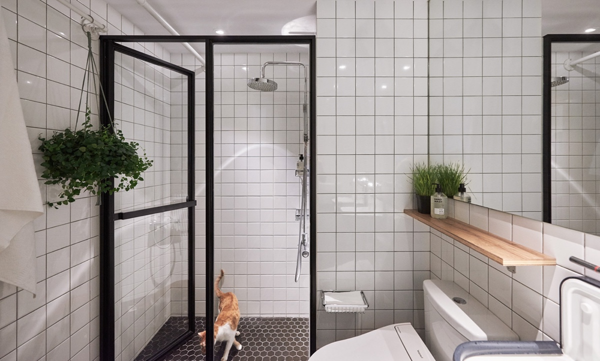 Plants Small Bathroom Chrome Fittings - Cat owner s cramped apartment gets room to breathe