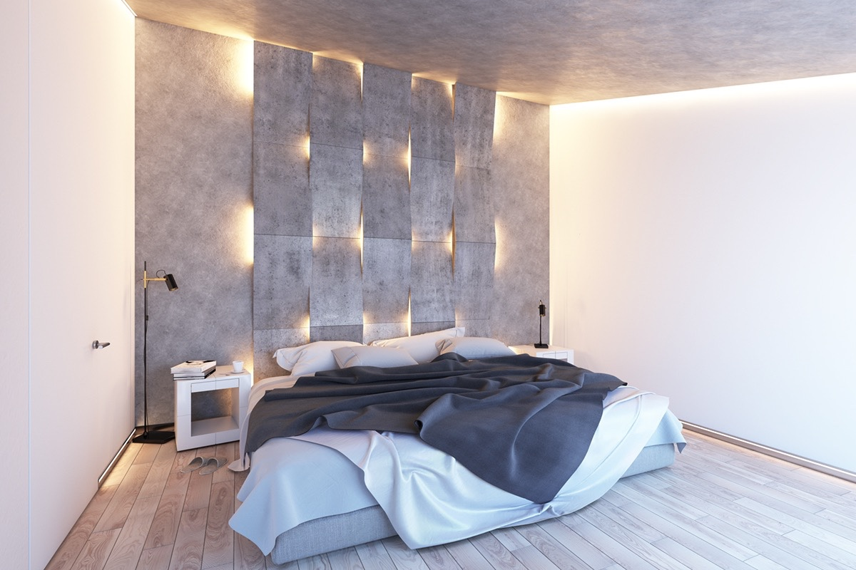 Concrete wall designs 30 striking bedrooms that use - Decorative precast concrete wall panels ...