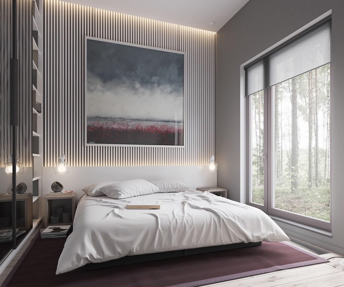 Purple Rug Matching Abstract Artwork Muted Bedroom - Minimalist muted colour home with scandinavian influences
