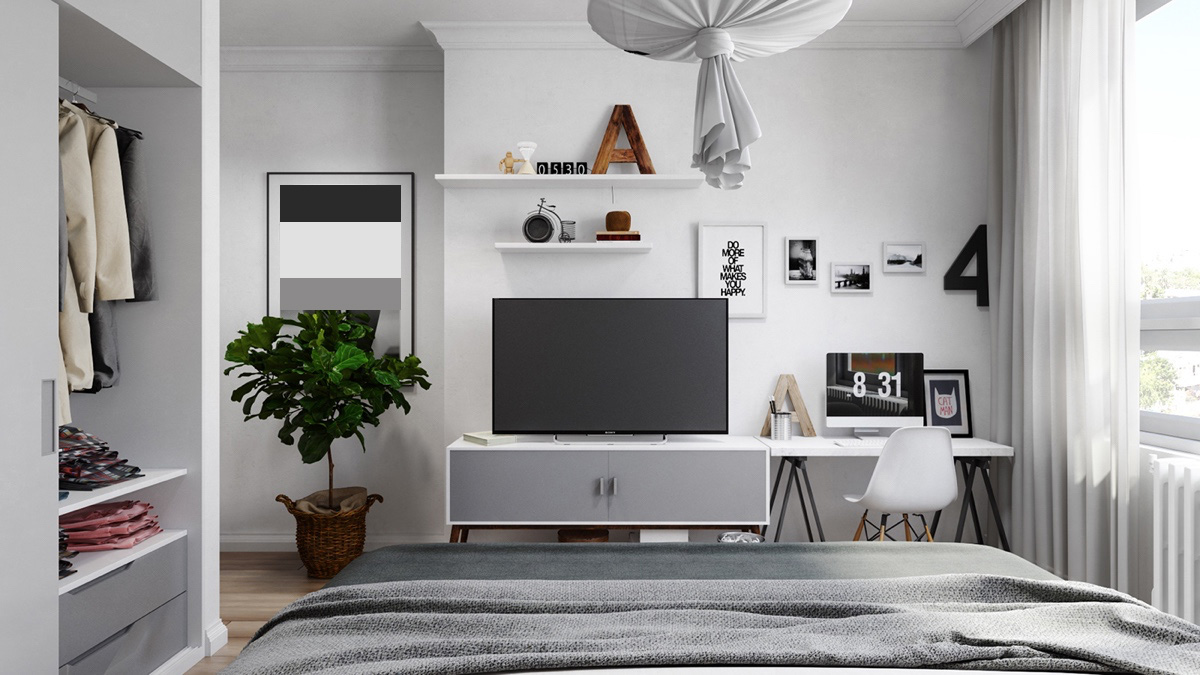 Relaxed And Spacious Grey Bedroom Ideas - Grey and white interior design inspiration from scandinavia