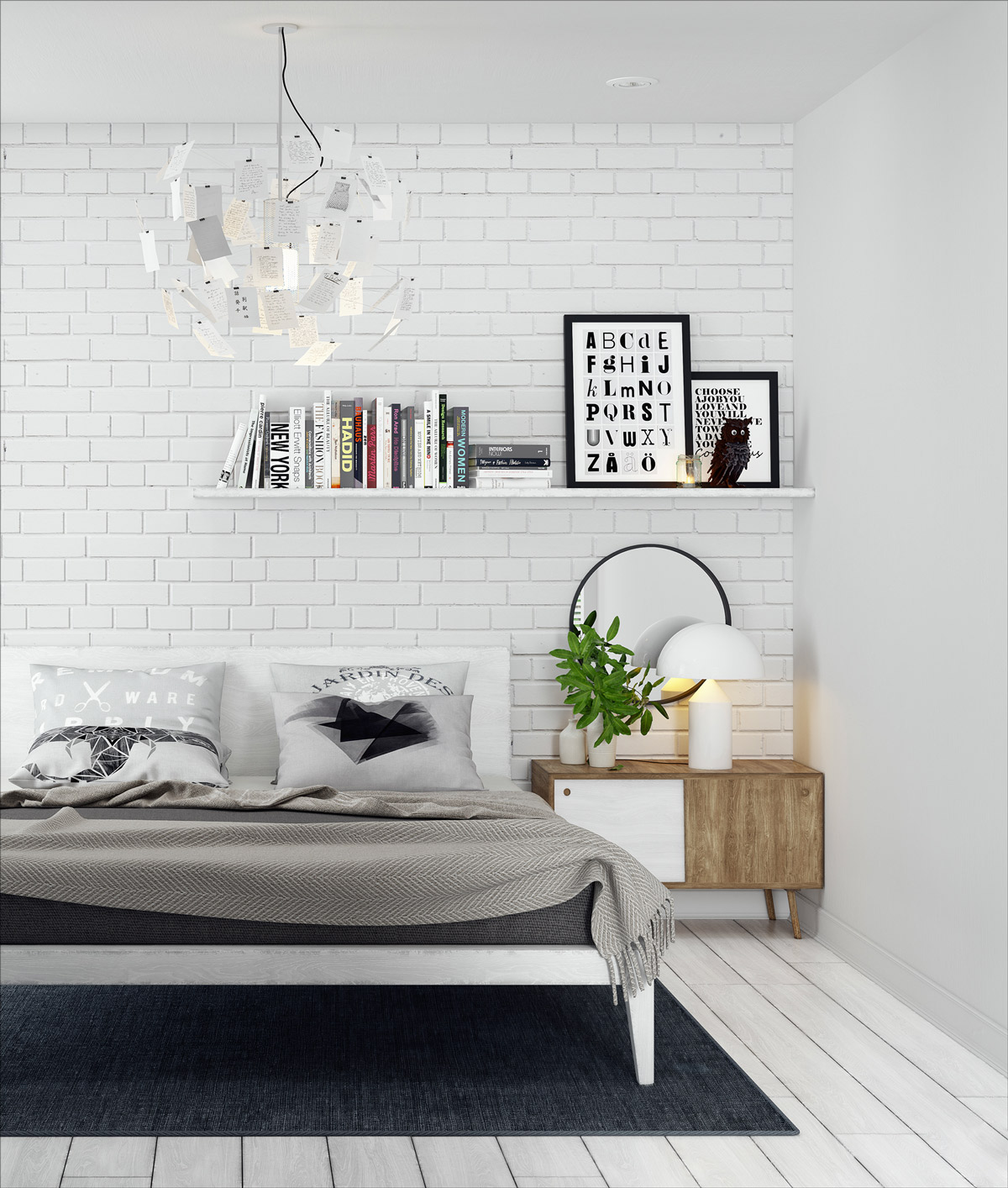 White Brick Wall Room Ideas