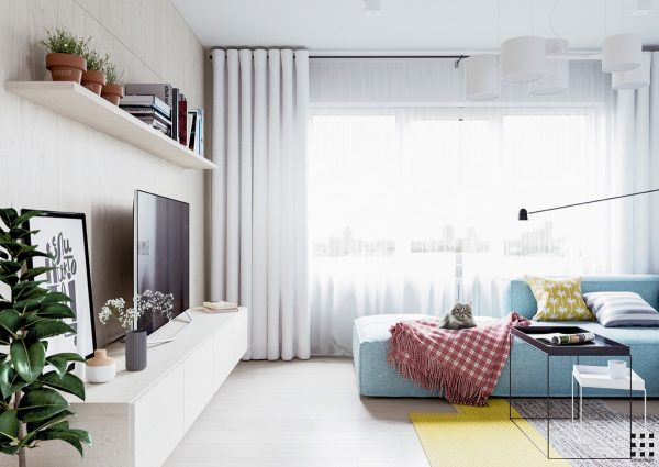 Scandinavian design is renowned for being sleek and minimalist this apartment definitely showcases a few of those elements by using neutral colors as a