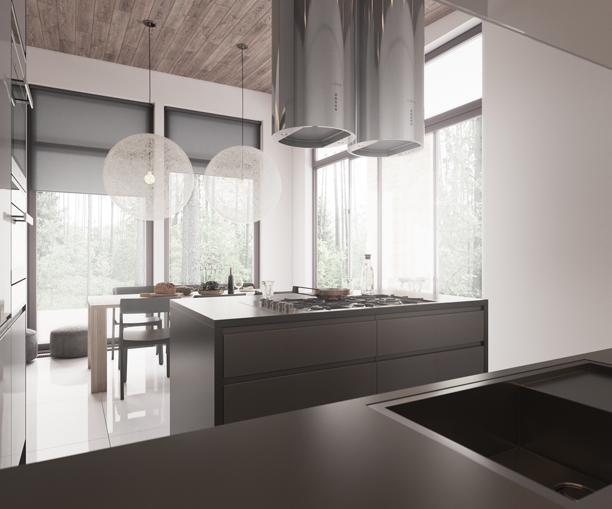 Silver Extractor Fan Woollen Chandelier Minimalist Living Space - Minimalist muted colour home with scandinavian influences