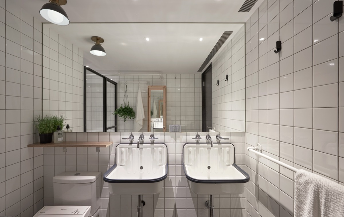 Small Bathroom Mirrors White Tiles - Cat owner s cramped apartment gets room to breathe