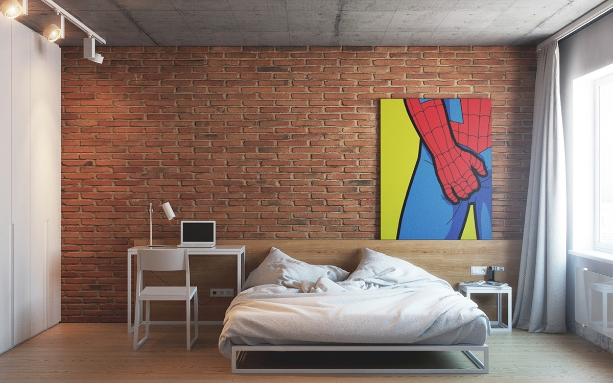 Spiderman Wall Art Exposed Brick Bedroom - Bedrooms with exposed brick walls