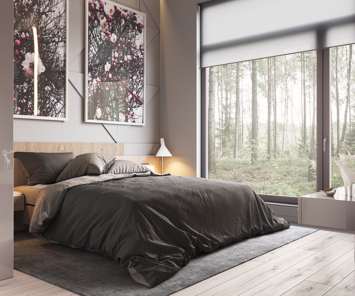 Two Abstract Art Prints Low Lying Bed Charcoal Bedroom - Minimalist muted colour home with scandinavian influences