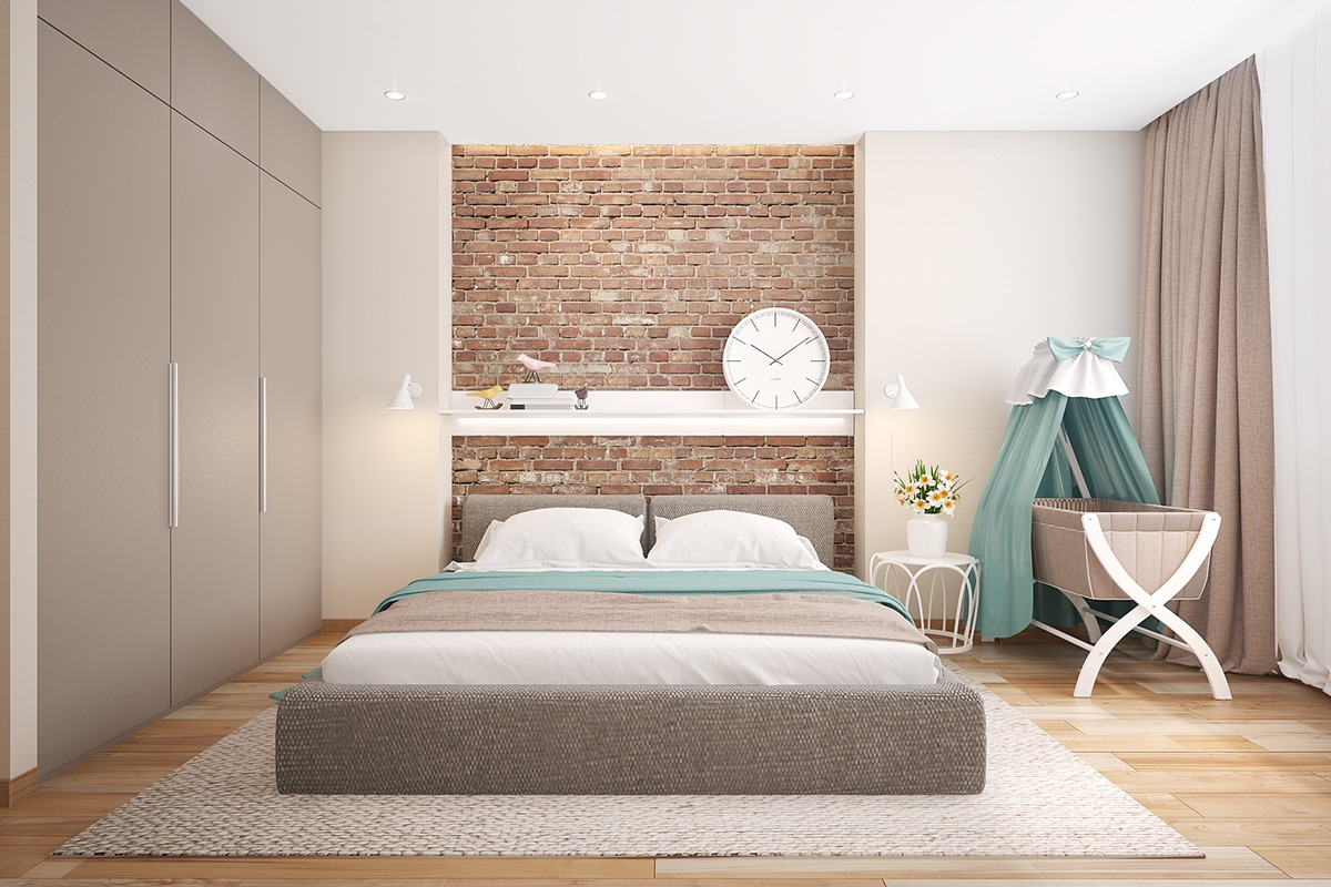 Bedrooms with exposed brick walls for Decoration interieur original