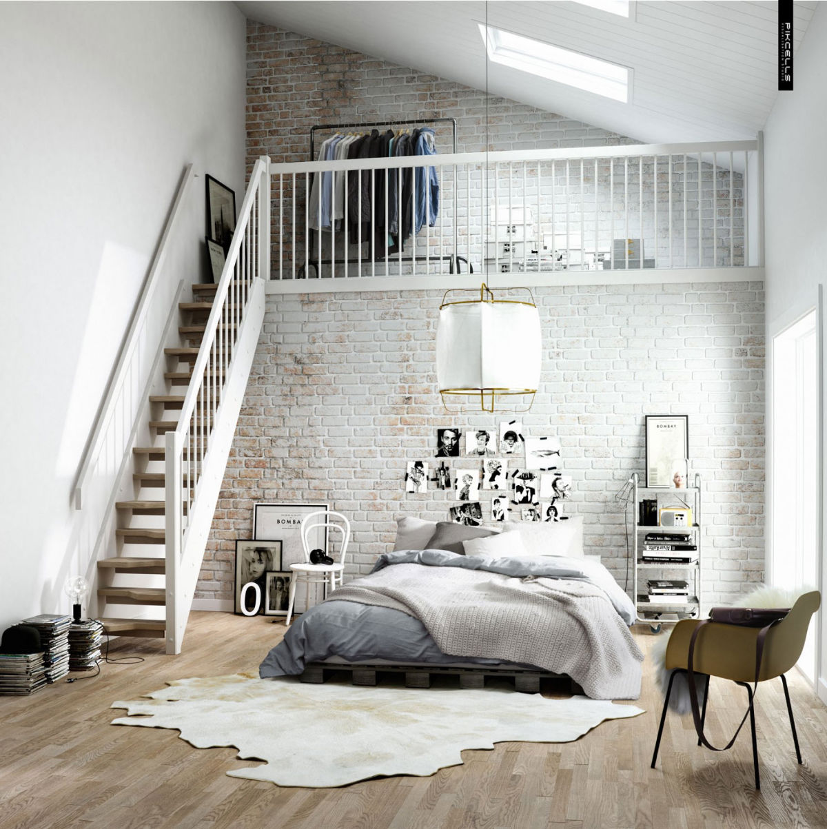 White Walls With High Stairs Exposed Brick Bedroom - Bedrooms with exposed brick walls