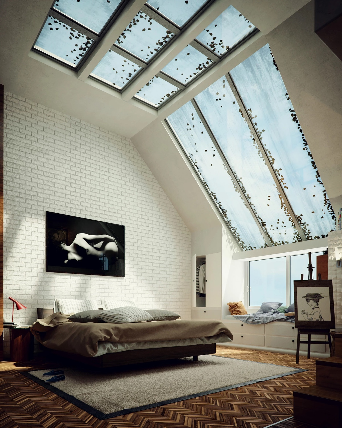 Wide Skylight Bedroom With Exposed Brick - Bedrooms with exposed brick walls