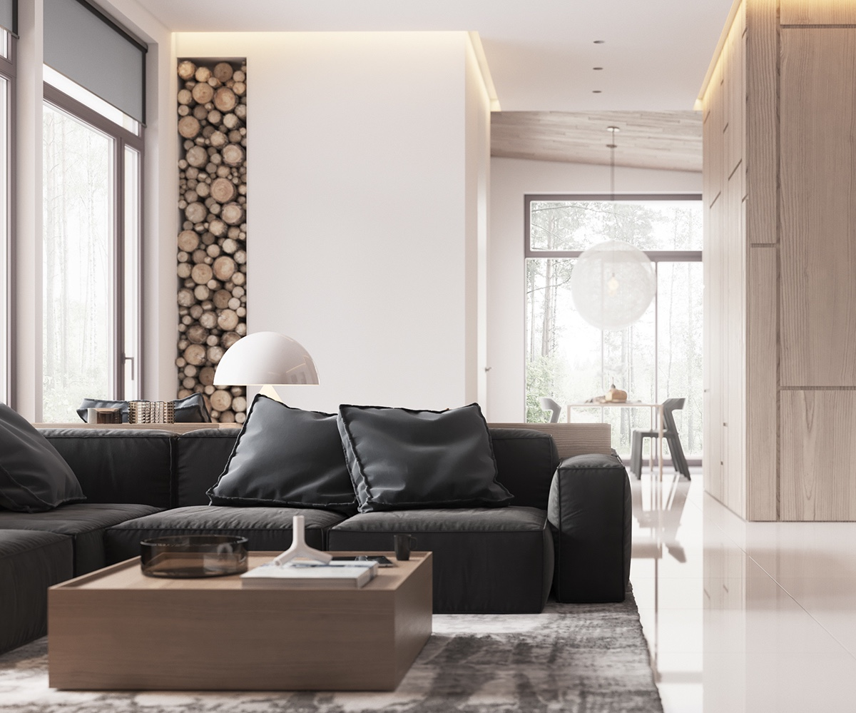 Wood Stack Column Leather Couches Bachelor Living Room - Minimalist muted colour home with scandinavian influences
